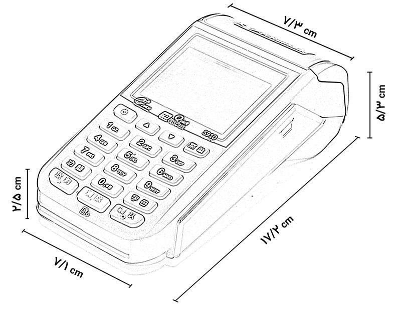 ابعاد دستگاه کارتخوان بی سیم پکس PAX S910
